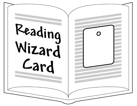 Reading Wizard Card - logo (card on open book)